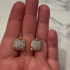 Judith Ripka Rose Gold Pave Heart Earrings